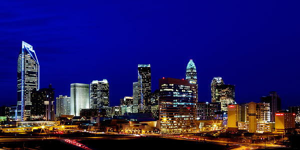 Charlotte Nc Photography Photograph - Charlotte Nc Skyline At Dusk by Patrick Schneider