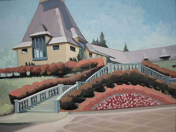 Vineyard Landscape Painting - Chateau Souverain Vineyard Ca by Eva Wittlinger