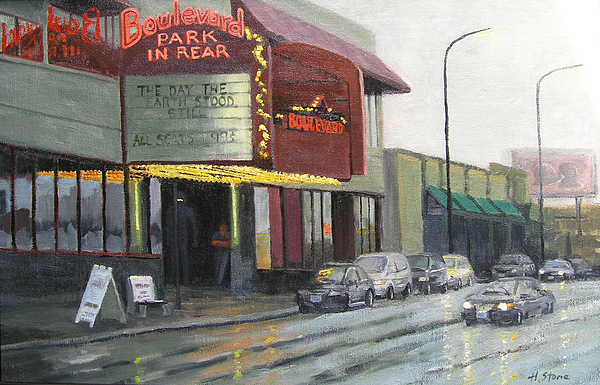 Urban Scene Painting - Cheap Seats by Holly Stone