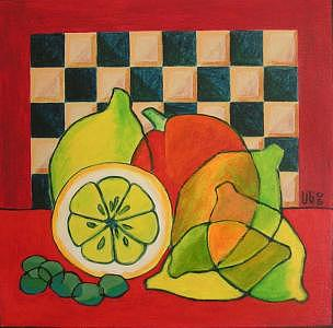 Checkers Painting - Checkers Lemons Olives by Lili Vanderlaan