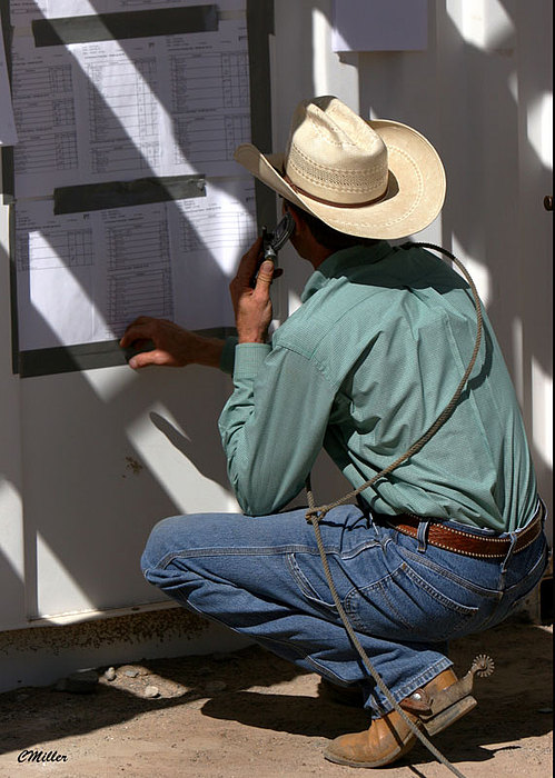 Rodeo Photograph - Checkin The Draw.. by Carol Miller