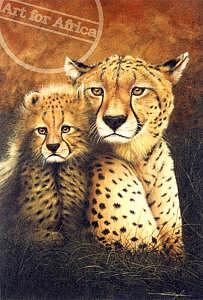 Africa Painting - Cheetah Mother And Cub by Daniel Taylor