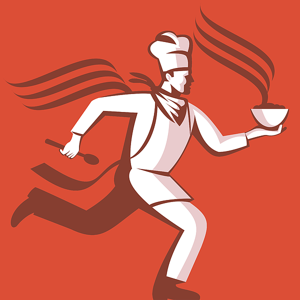 Illustration Digital Art - Chef Cook Baker Running With Soup Bowl by Aloysius Patrimonio