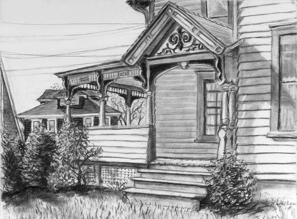 House Drawing - Chenango Street Binghamton Ny by John Clum