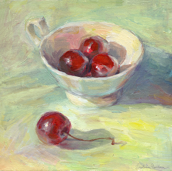 Red Cherries Painting - Cherries In A Cup On A Sunny Day Painting by Svetlana Novikova