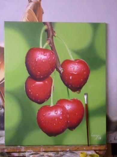 Painting Oil Painting - Cherry by Luis  Jesus