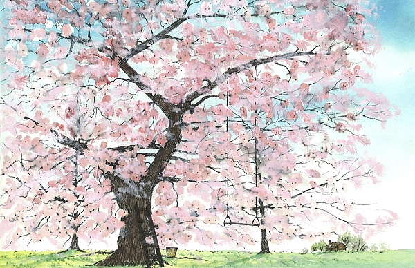 Cherry Trees Painting - Cherry Trees by Patrick Grills