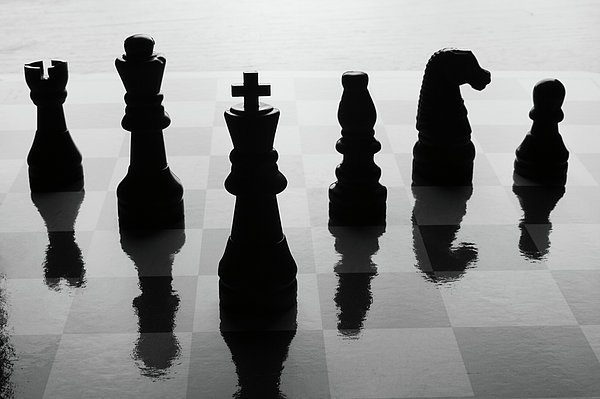 Horizontal Photograph - Chess Board And Pieces by Jon Schulte