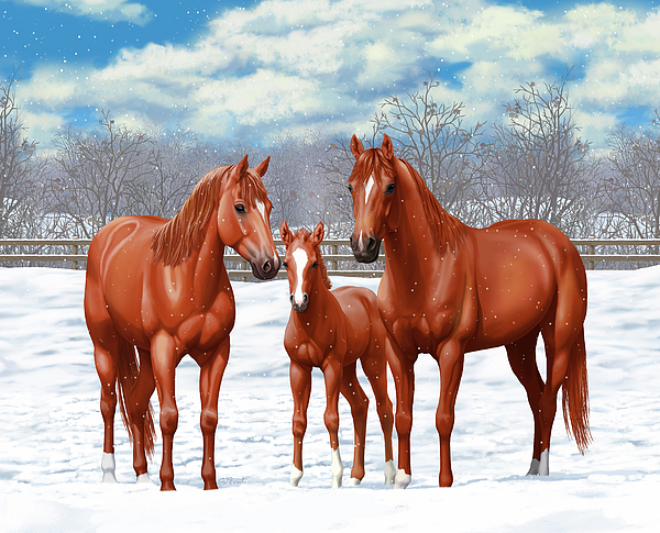 Horses Painting - Chestnut Horses In Winter Pasture by Crista Forest