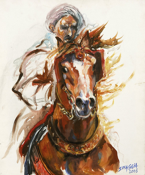 Horse Painting - Cheval Arabe Monte En Action by Josette SPIAGGIA