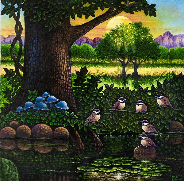Bird Painting - Chicadees by Michael Frank