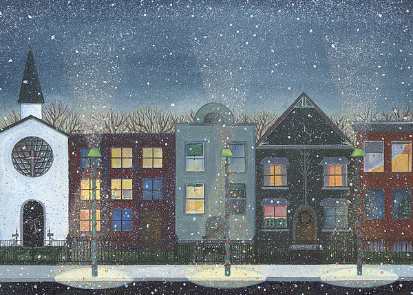 Snowman Painting - Chicago Brown Stones by Thomas Griffin