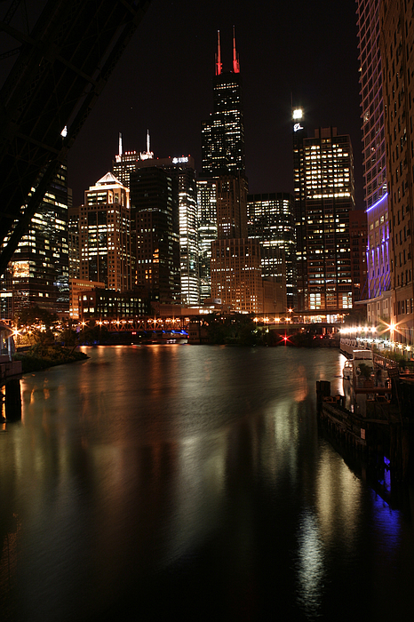 Vertical Photograph - Chicago River At Night by Christopher Purcell