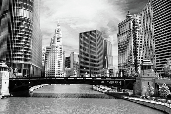 Bridge Photograph - Chicago River Buildings Skyline by Paul Velgos