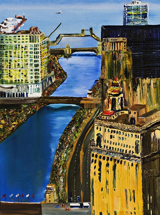 Chicago Skyline Painting - Chicago River Skyline by Gregory Allen Page