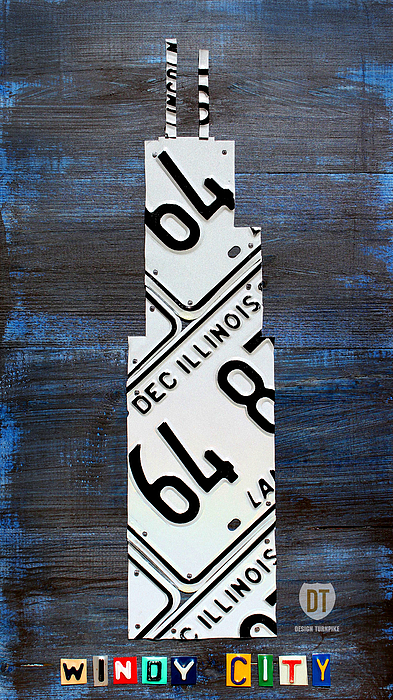 Chicago Mixed Media - Chicago Windy City Harris Sears Tower License Plate Art by Design Turnpike