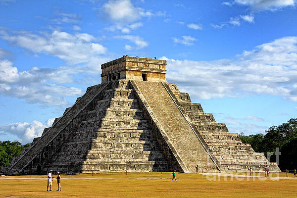 Chichen Itza; Mexico; Maya; Pyramid; Ruins; People; Tourist; Tourism; Tourists; Side; Cloud; Moody Sky; Dark Cloud; Dramatic Sky; Travel; Architecture; Ancient; Mayan Photograph - Chichen Itza Pyramid by Charline Xia