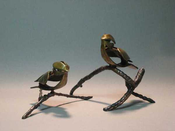 Chickadee Sculpture - Chickadees by Fred Lunger