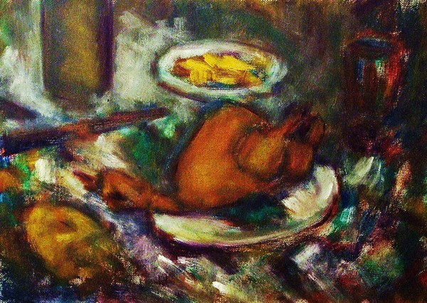 Still Life Painting - Chicken French Patatoes Salad by Jean pierre  Harixcalde