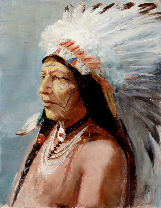 Native Americans Painting - Chief Flying Eagle Of The Blackfoot Tribe by Lewis A Ramsey