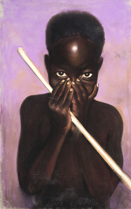 L Cooper Pastel - Child With Stick by L Cooper
