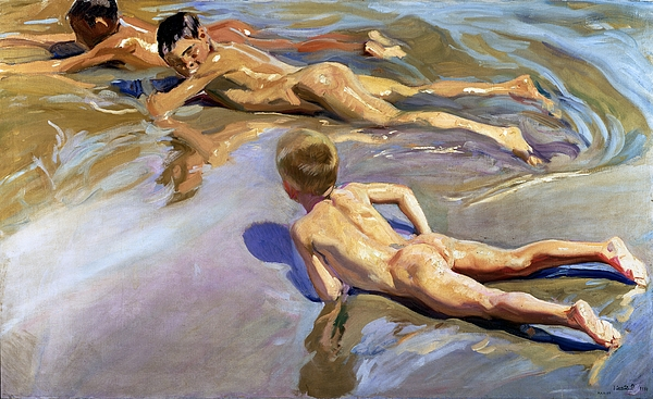 Children Painting - Children On The Beach by Joaquin Sorolla y Bastida