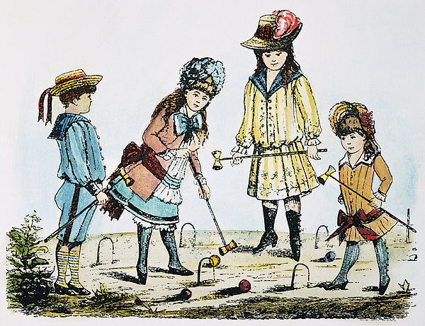 19th Century Photograph - Children Playing Croquet by Granger