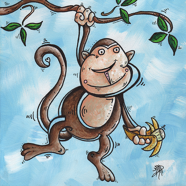 Childrens Painting - Childrens Whimsical Nursery Art Original Monkey Painting Monkey Buttons By Madart by Megan Duncanson