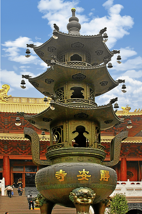 Jing An Si Photograph - Chinese Ancient Relics - Bronze Cauldron Jingan Temple Shanghai by Christine Till