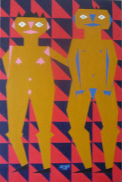 Abstract Painting - Chinese Couple Walking by Neil Trapp