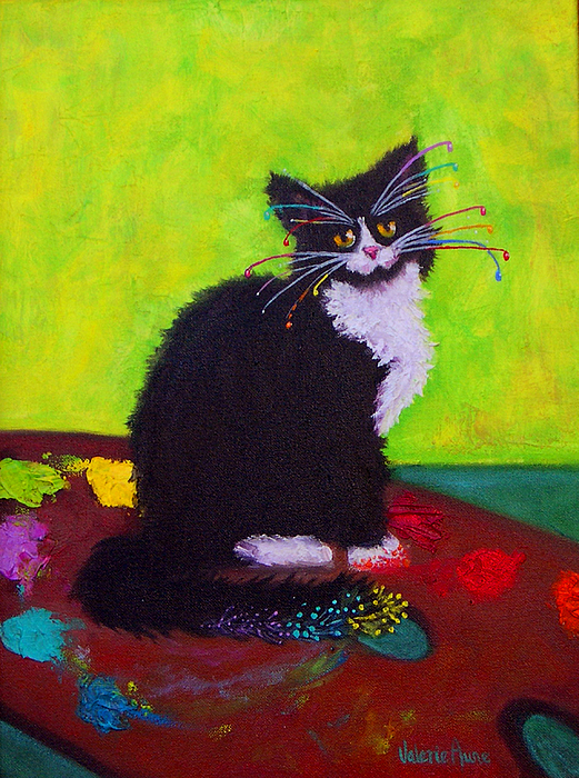Cat Painting - Ching - The Studio Cat by Valerie Aune