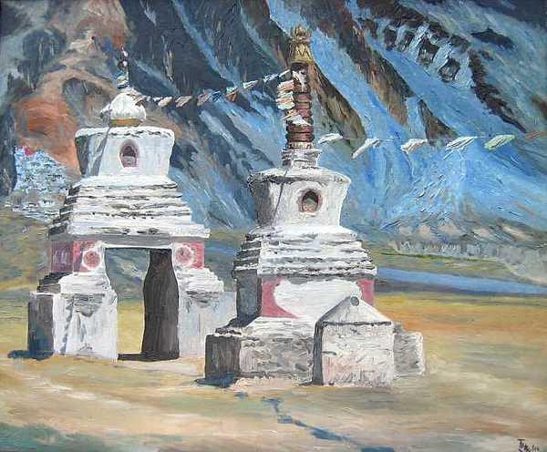 Chorten Painting - Chorten Passage by Tenzin Phakmo