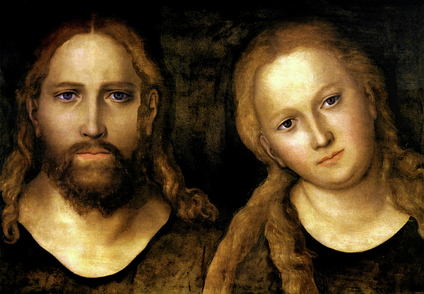 Lucas Cranach The Elder Painting - Christ And Mary by Lucas Cranach the Elder