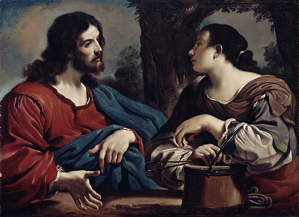 Christ Photograph - Christ And The Woman Of Samaria by Giovanni Francesco Barbieri Guercino