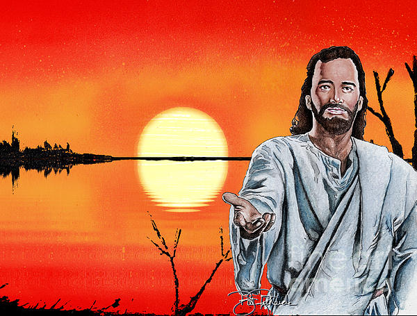 Christ Drawing - Christ At Sunrise by Bill Richards