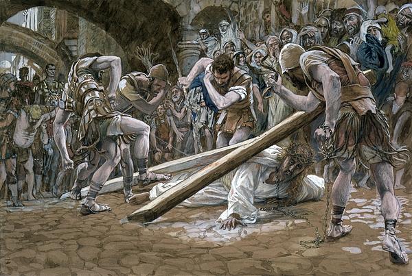 Fallen Painting - Christ Falls Beneath The Cross by Tissot