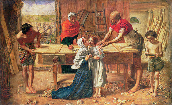 Christ In The House Of His Parents Painting - Christ In The House Of His Parents by JE Millais and Rebecca Solomon