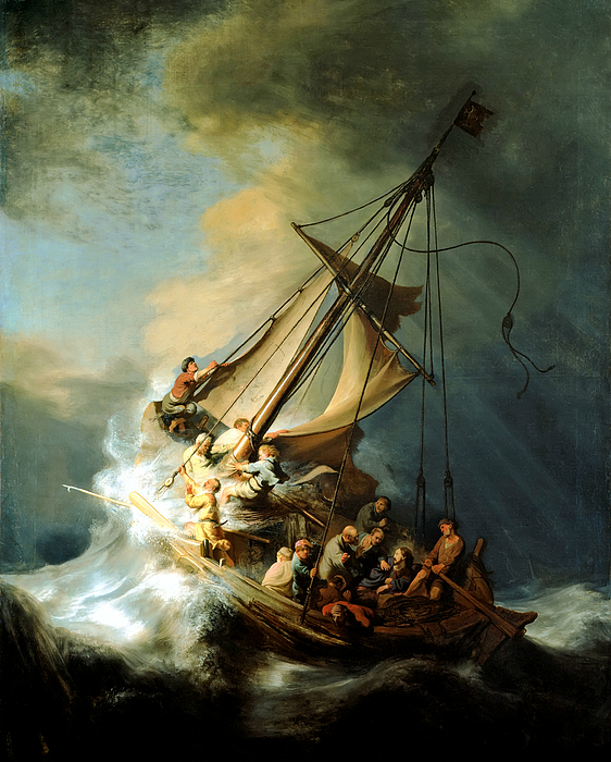Jesus In Storm Painting - Christ In The Storm by Rembrandt
