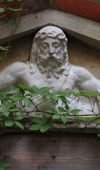 Venice Photograph - Christ On Shrine In Venice With Leaves by Michael Henderson