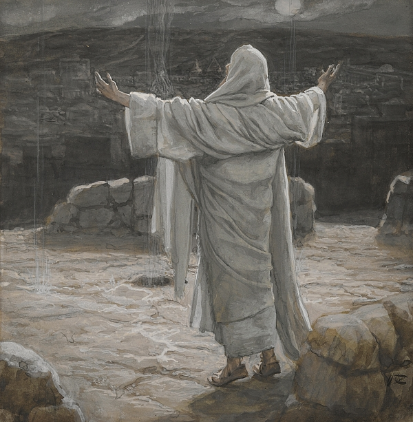 Christ Retreats To The Mountain At Night Painting By Tissot