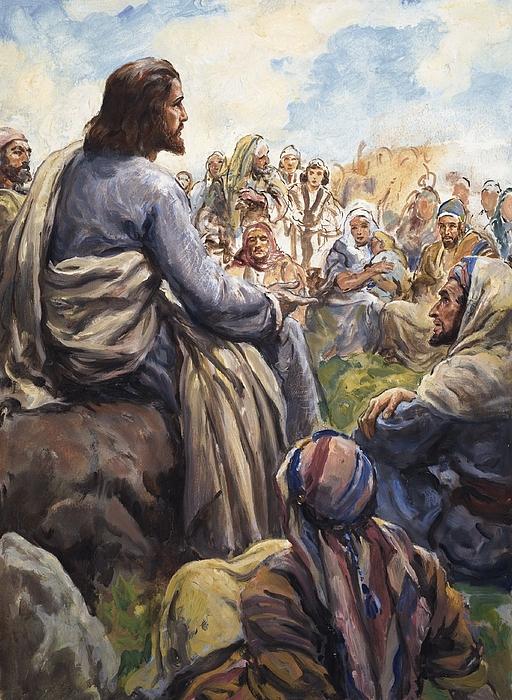 Christ; Jesus; Teaching; Disciples; Stone; Attentive; Children; Men; Women; Bible; Biblical Painting - Christ Teaching by English School
