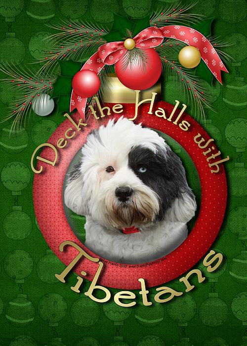 Tibetan Terrier Digital Art - Christmas - Deck The Halls With Tibetans by Renae Laughner