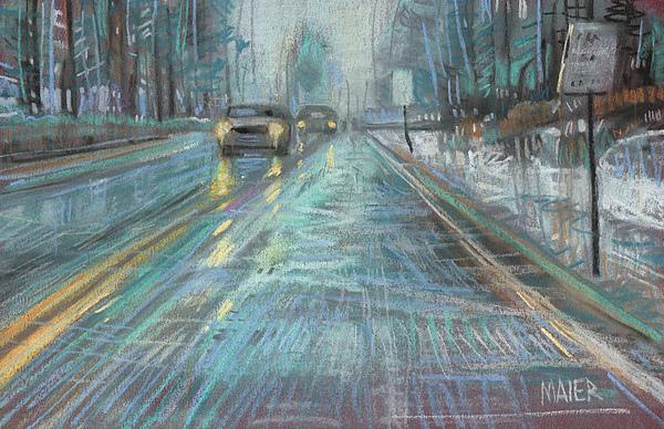 Rain Drawing - Christmas Drive by Donald Maier