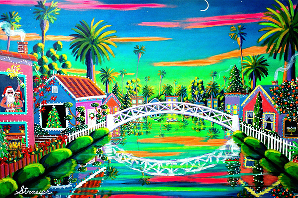 Christmas Painting - Christmas Eve On Retro Canal by Frank Strasser