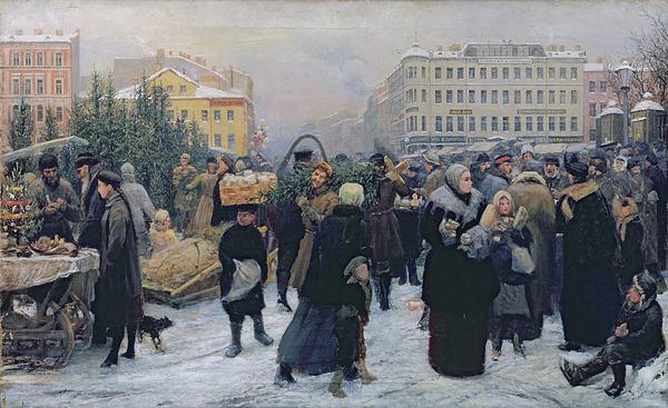 Christmas Painting - Christmas Fair  by Heinrich Matvejevich Maniser