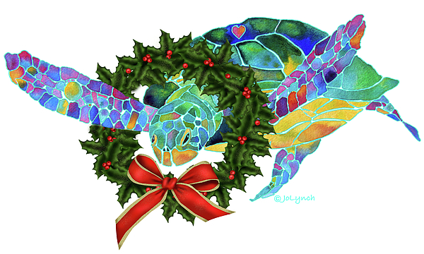 Christmas Painting - Christmas Holiday Sea Turtle by Jo Lynch