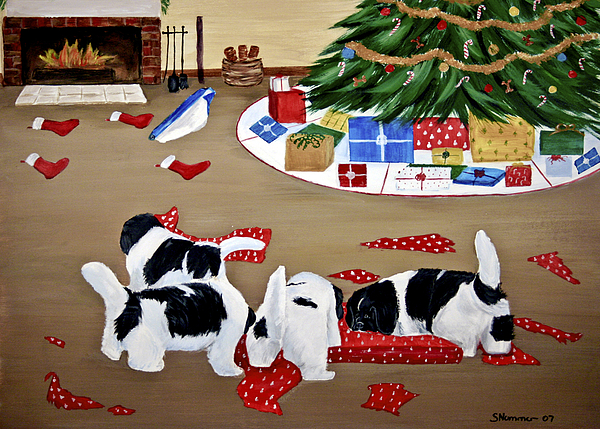 Christmas Painting - Christmas Mischief by Sharon Nummer
