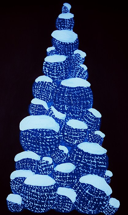 Winter Painting - Christmas Tree Light Up by Nicole  Cris