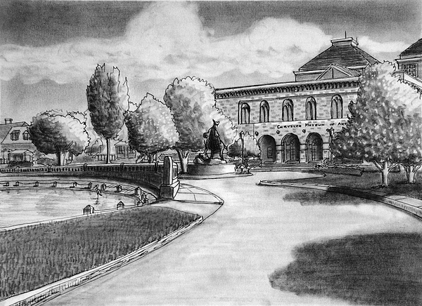 Landscape Drawing - Chrysler Museum Norfolk by Vic Delnore