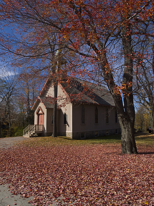 Church And Fall Foliage In Eckley Village Photograph by Bob Hahn